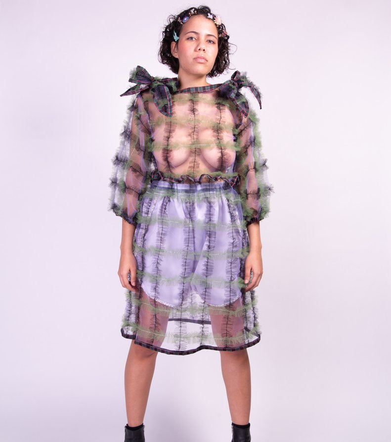 Meg Beck, Dress, Tulle, Grid Dress, Kathleen, Los Angeles, Boutique