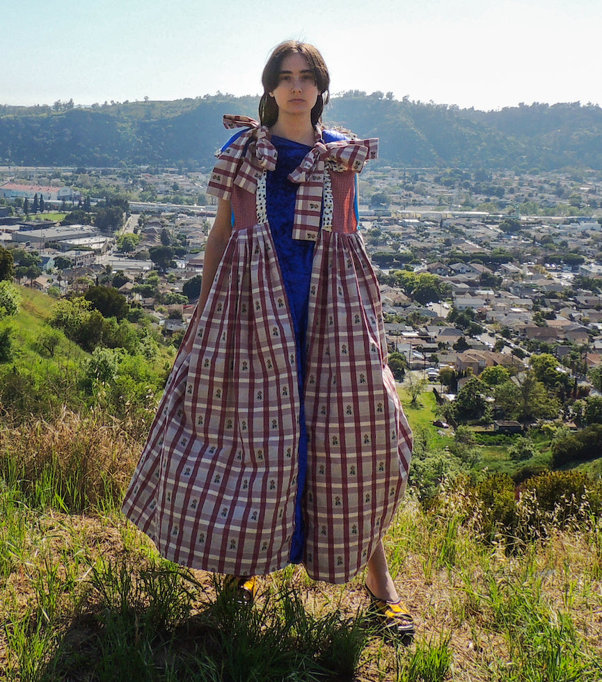 JRAT, Janelle Rabbott, Dress, Zero Waste, Jumper, Prairie Dress, Gingham, UpcycleZero Waste, Prairie Dress, Ruffle Dress, Bow Dress, Sustainable, Kathleen, Shop Kathleen, Boutique, Ugly House on the Prairie, Los Angeles, One of a Kind