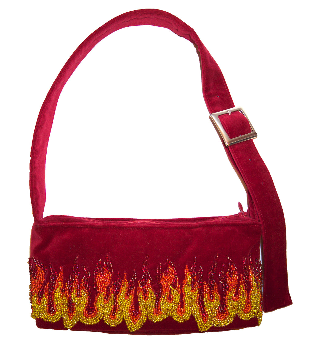 Matilda Aberg, Mini Bag, 90s Handbag, Sustainable Designer, Independent Designer, Stockholm Designer, Independent Fashion, Kathleen, Shop Kathleen, Kathleen Los Angeles, Los Angeles Boutique, Independent Boutique, Crushed Velvet Bag, Red Handbag, Embroidered Bag, Beaded Bag, Flames Handbag, Mini Bag, Recycled Fabric, Upcycled