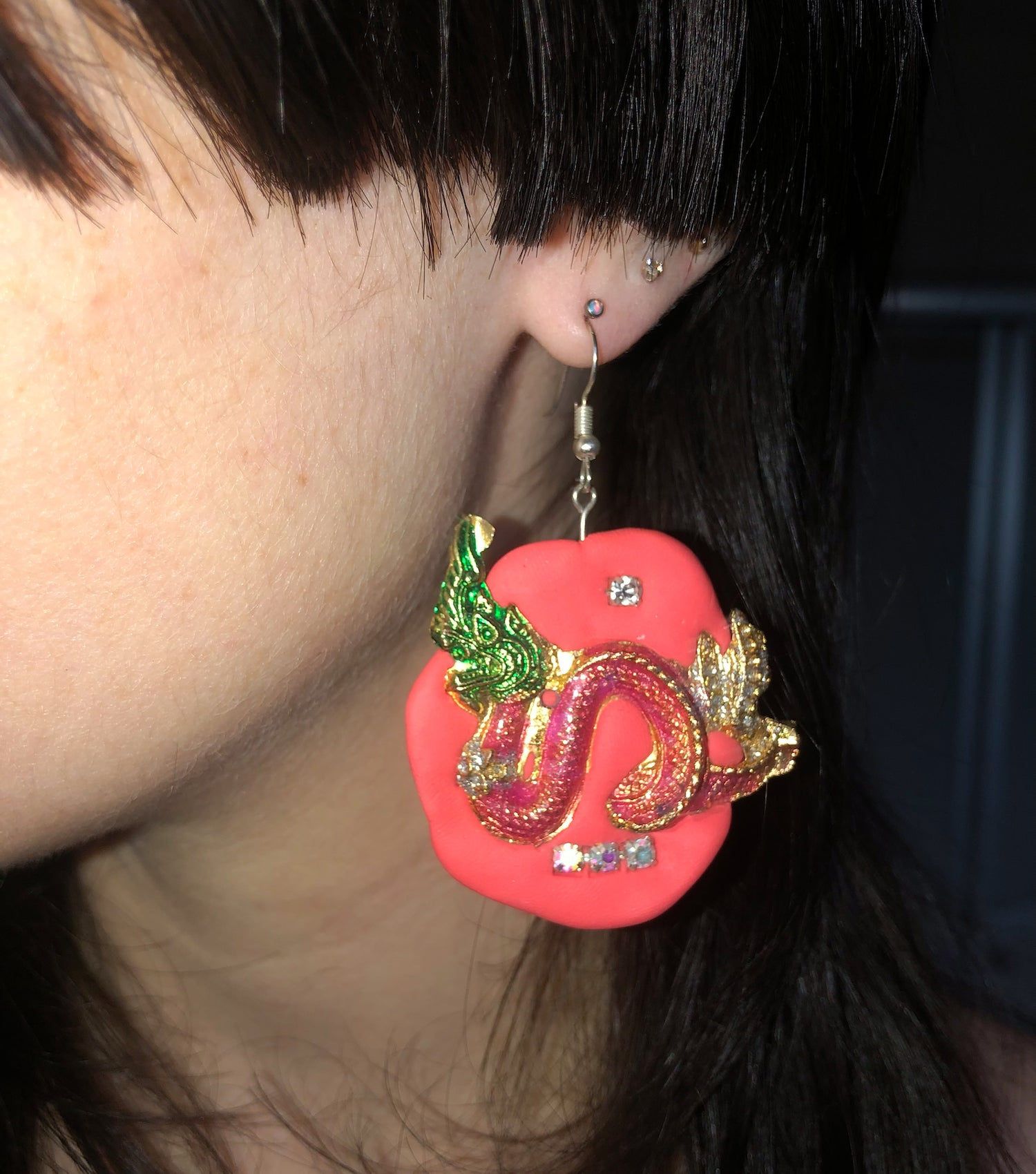 Tati Jewellery, Kathleen, Los Angeles, Dragon, Pink, polymer clay, pink dragon, handmade, earring