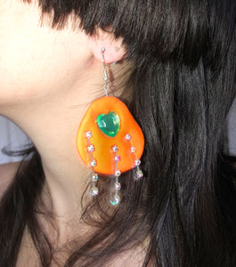 Tati Jewellery, polymer clay, handmade, orange, green, heart, earring