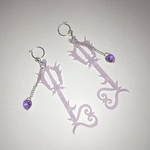 earrings, emma pryde, handmade, keyblade, kingdom hearts, shop kathleen, kathleen, los angeles