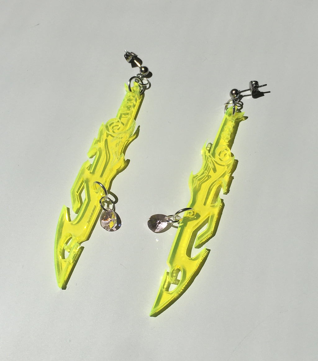 earrings, emma pryde, handmade, dagger, sword, shop kathleen, kathleen, los angeles, handmade, crystal, lasercut