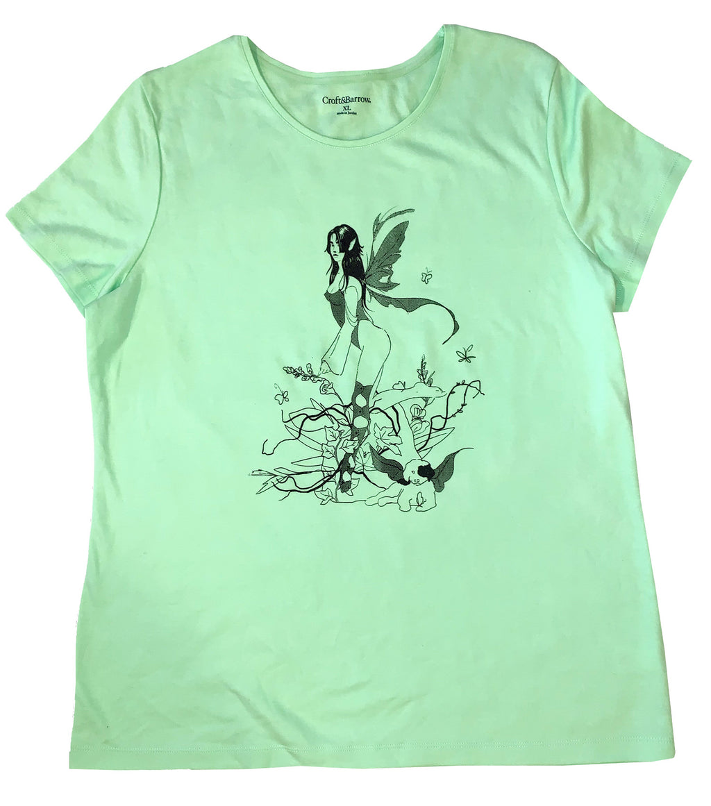 Gabrielle Rosenstein, Elf, Fairy, Dog, Flowers, Screen printed, Vintage, Made in Los Angeles, Second Hand, Sustainable, Kathleen, Kathleen Los Angeles, Independent Boutique, Independent Artist, Los Angeles Boutique, Independent Designer, Los Angeles Artist, lime tshirt, green tshirt, fairy tshirt, elf tshirt