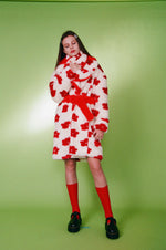 Load image into Gallery viewer, somewhere nowhere, faux fur flower coat, coat, fur coat, jacket