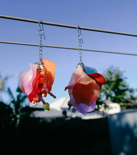 homejob, sustainable, found material, petal earrings, jewelry, kathleen, los angeles, boutique, handmade