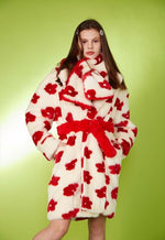 Load image into Gallery viewer, Faux Fur Flower Coat