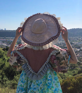 JRAT, Janelle Rabbott, Frilly Hat, Sunhat, Upcycled, Vintage Hat, Sustainable, Bonnet, Kathleen, Shop Kathleen, Boutique, Ugly House on the Prairie, Los Angeles, One of a Kind