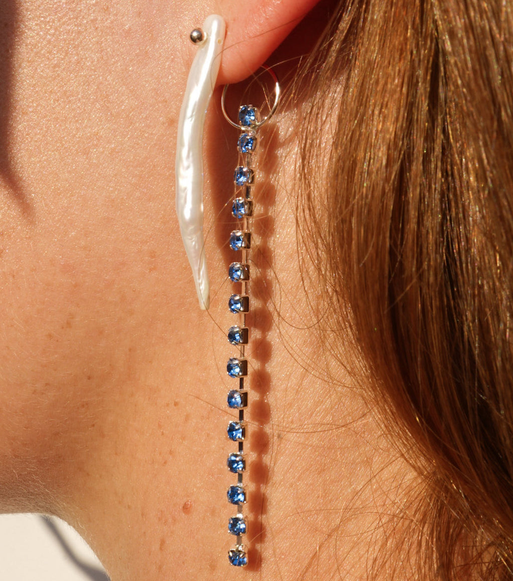 freshwater pearl, crystal earrings, Fanny Inserra, Upcylced, recycled jewelry, chain earrings, pierced earrings, plexiglass, Kathleen, Kathleen Los Angeles, los angeles boutique, independent artist, independent designer, sustainable fashion, sustainable jewelry, pearl earrings