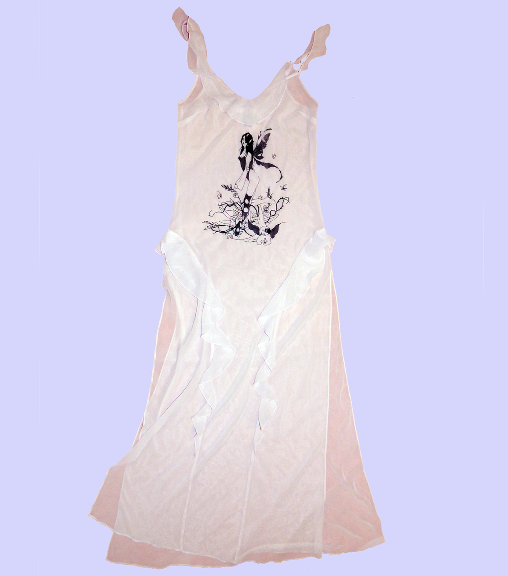 Gabrielle Rosenstein, Elf, Fairy, Dog, Flowers, Screen printed, Vintage, Made in Los Angeles, Second Hand, Sustainable, Kathleen, Kathleen Los Angeles, Independent Boutique, Independent Artist, Los Angeles Boutique, Independent Designer, Los Angeles Artist, fairy dress, flowy dress