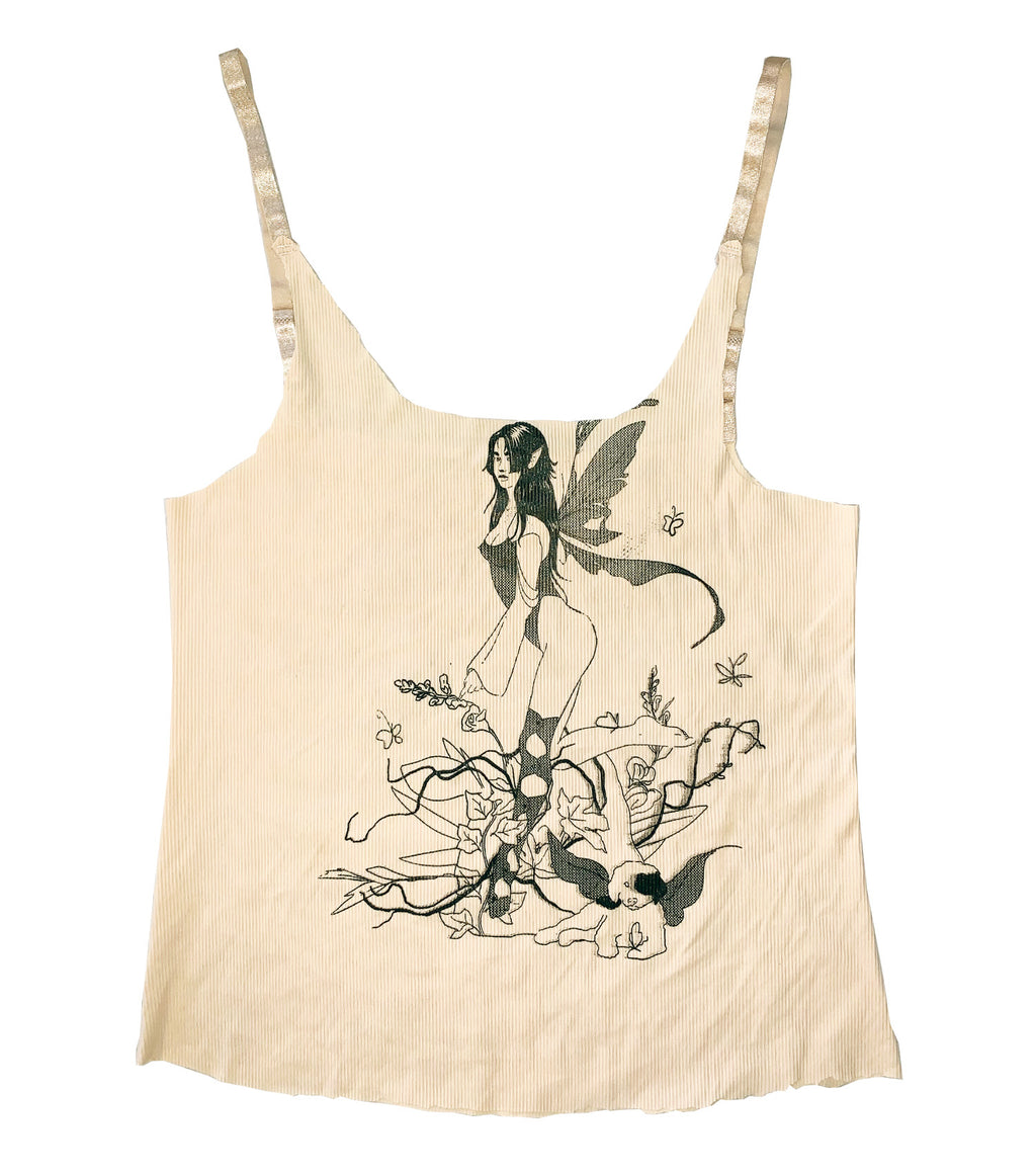 Gabrielle Rosenstein, Elf, Fairy, Dog, Flowers, Screen printed, Vintage, Made in Los Angeles, Second Hand, Sustainable, Kathleen, Kathleen Los Angeles, Independent Boutique, Independent Artist, Los Angeles Boutique, Independent Designer, Los Angeles Artist, nude tank top, raw edge tank top, fairy tank top, elf tank top