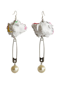 Painted Rose and Pearl Earrings - Multi