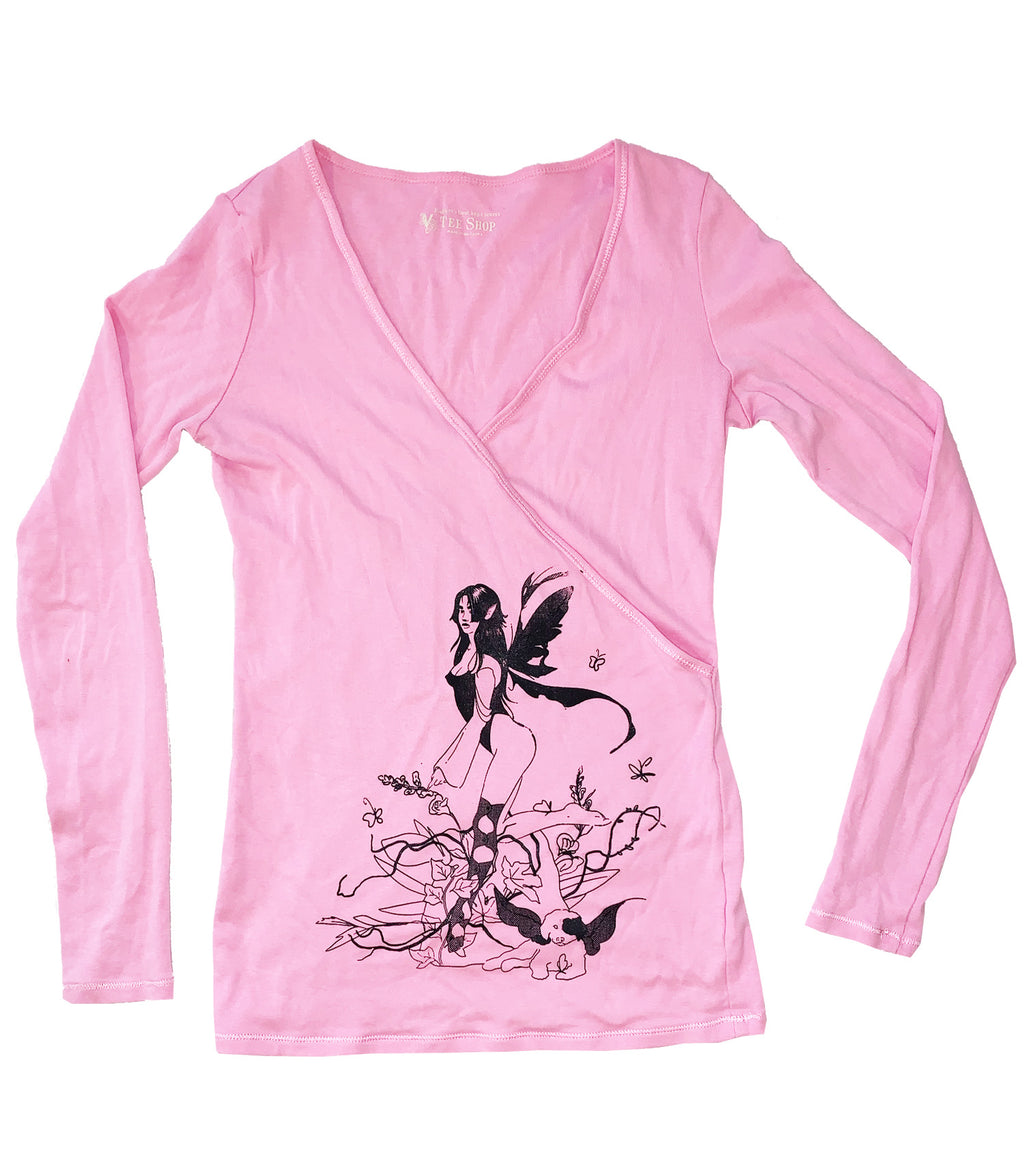 Gabrielle Rosenstein, Elf, Fairy, Dog, Flowers, Screen printed, Vintage, Made in Los Angeles, Second Hand, Sustainable, Kathleen, Kathleen Los Angeles, Independent Boutique, Independent Artist, Los Angeles Boutique, Independent Designer, Los Angeles Artist, ballet top, fairy top, elf top, longsleeve wrap top