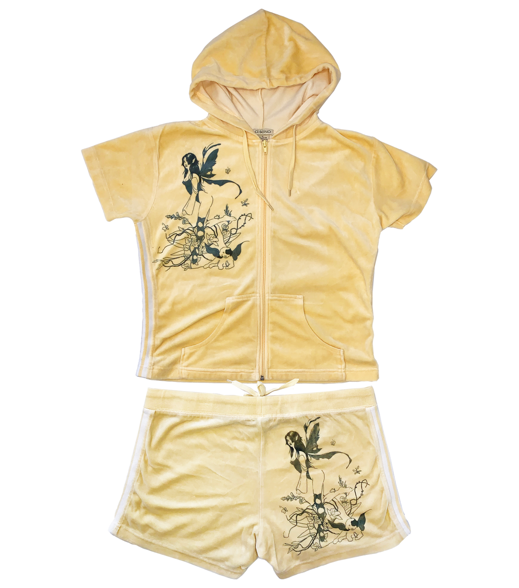 Gabrielle Rosenstein, Elf, Fairy, Dog, Flowers, Screen printed, Vintage, Made in Los Angeles, Second Hand, Sustainable, Kathleen, Kathleen Los Angeles, Independent Boutique, Independent Artist, Los Angeles Boutique, Independent Designer, Los Angeles Artist, velour suit, velour outfit, matching set, tracksuit, velour tracksuit, matching set, matching top and pants, matching fairy set, elf set