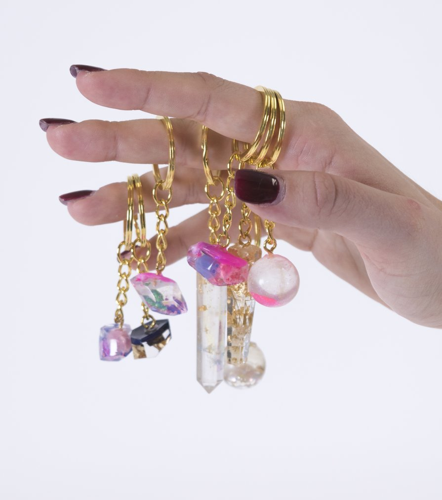 resin pet keychain, Sasha Fishman, Kathleen, silicone, acrylic, gold leaf, pigment, beads, shell