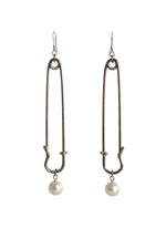 Load image into Gallery viewer, Pin & Pearl Earrings
