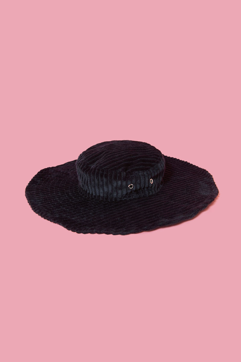 somewhere nowhere hat, corduroy hat, black hat