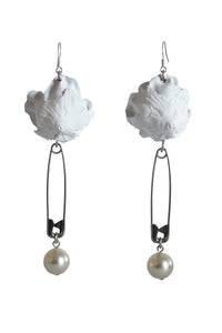 Painted Rose and Pearl Earrings - White Safety Pin
