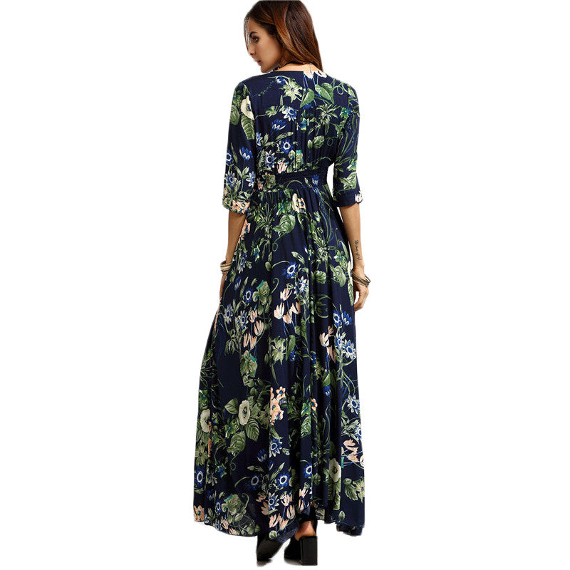 e9cc47f08aa SHEIN Long Floral Maxi Dress Boho Long Dress Elegant Beach Navy Floral Print  Half Sleeve Button