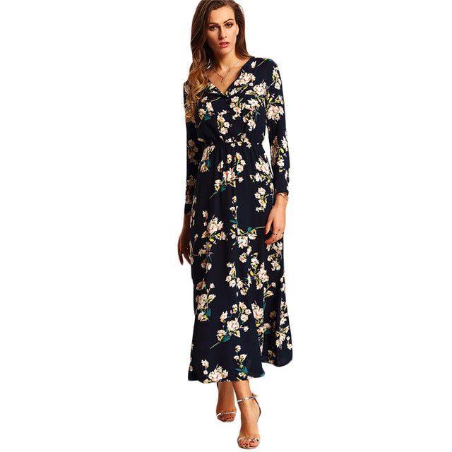 2a7ddf5910 SHEIN New Arrival Boho Women Maxi Dresses Navy V Neck Long Sleeve Womens  Elegant With Button Floral Long Party Dress