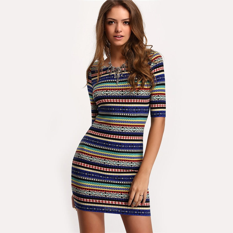 9a55418808d3 SHEIN Womens New Arrival Summer Stripe Dresses Sexy Club Multicolor Vintage  Print Round Neck Half Sleeve