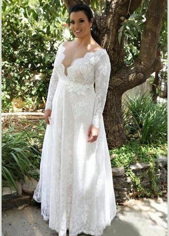 Lace V Neck Wedding Dresses Sweep Train Floor Length Plus Size A Line Eternally Yours Custom Bridals