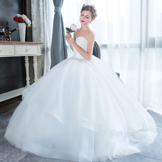 ... Modest / Simple Affordable White Outdoor / Garden Wedding Dresses 2019  A Line / Princess ...