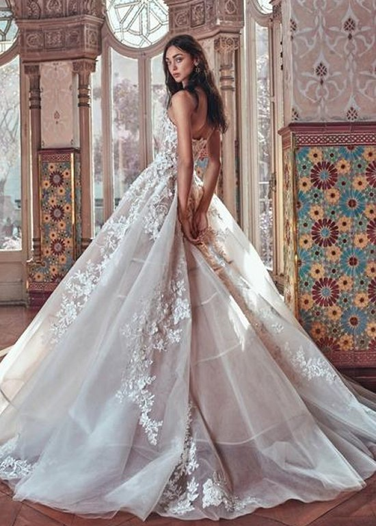1ad9dc4dec943 Appliques Lace up Back Sleeveless Tulle Ball Gown Long Train Wedding Dress  - eternally-yours