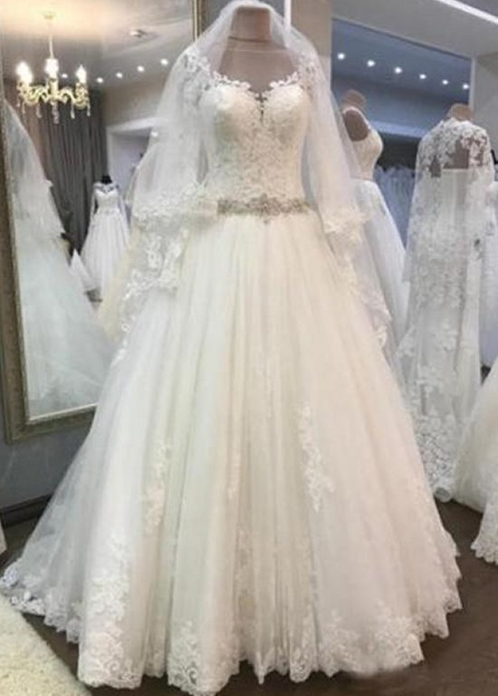 015373b850e8b New Long Sleeves Elegant Lace Tulle A-Line 2019 Wedding Dress - eternally- yours