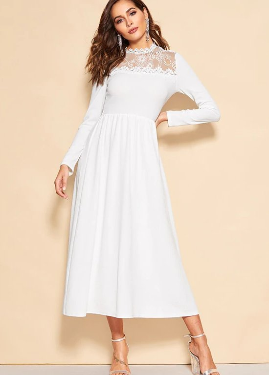 b66e824fc7 SHEIN White Lace Insert Zip Back Stand Collar Fit and Flare Mid Waist Maxi  Dress -