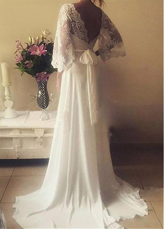 9c75e192505cd Backless 3/4 Sleeves Chiffon Lace Beach Boho Wedding Gown - eternally-yours-
