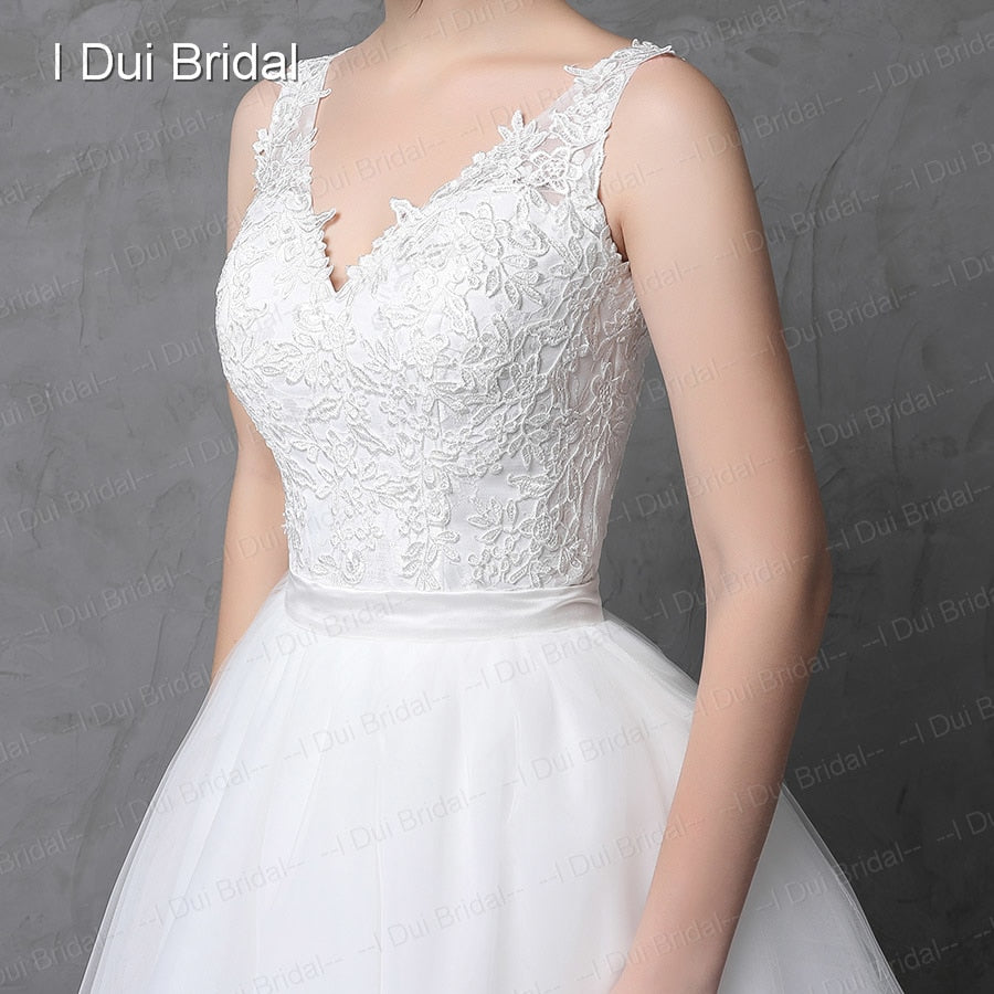 Illusion Lace Back Two Way Long Short Wedding Dress with
