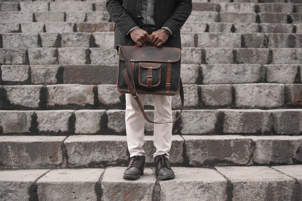 Loculus Buffalo Leather Satchel Messenger Bag - DÖTCH CLUB