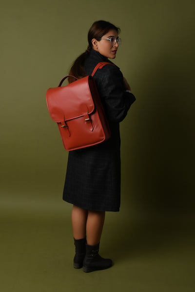 Penny Leather Backpack- Red - DÖTCH CLUB