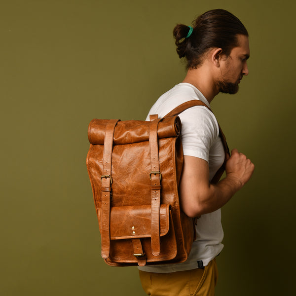 DuVall Rolltop Backpack- Tan - DÖTCH CLUB