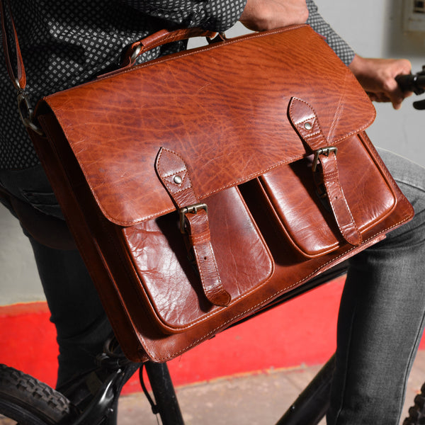 Madan Buffalo Leather Satchel Messenger Bag - DÖTCH CLUB