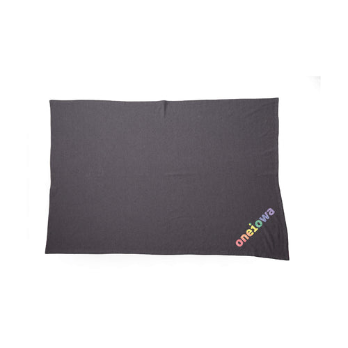 One Iowa Rainbow Glitter Logo Blanket