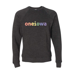 One Iowa Rainbow Glitter Logo Crewneck Sweatshirt