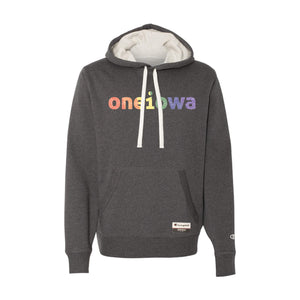 One Iowa Rainbow Glitter Logo Pullover Sueded Hoodie
