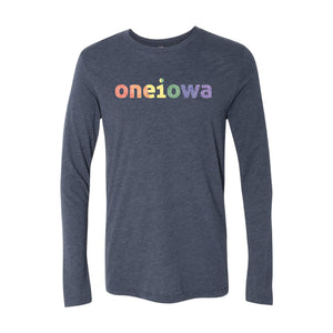 One Iowa Rainbow Glitter Logo Long Sleeve T-Shirt