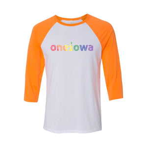 One Iowa Rainbow Glitter Logo Raglan