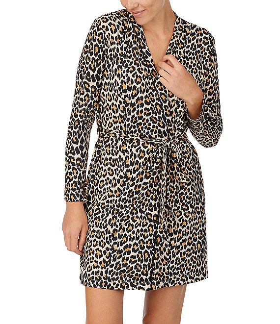 KATE SPADE SWEATER KNIT LEOPARD ROBE