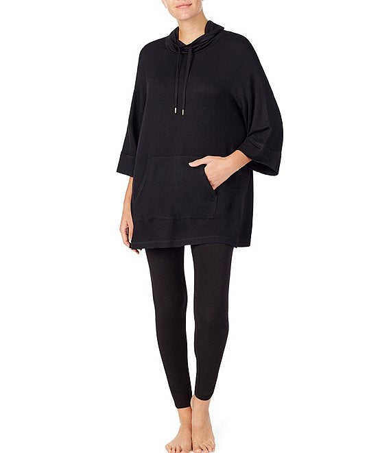 DONNA KARAN BRUSHED BACK TERRY 3/4 SLEEVE PONCHO