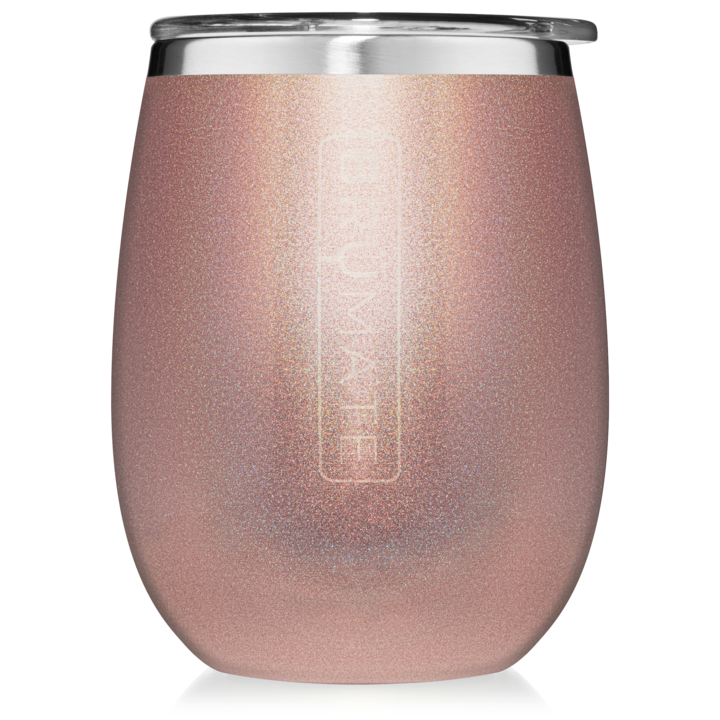 UNCORKED XL WINE TUMBLER 14OZ GLITTER ROSE GOLD