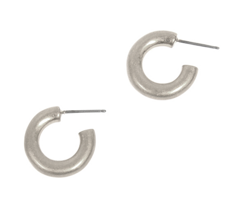 EARRINGS: MINI CHUNKY 3/4 HOOP (SILVER TONE), ON POST