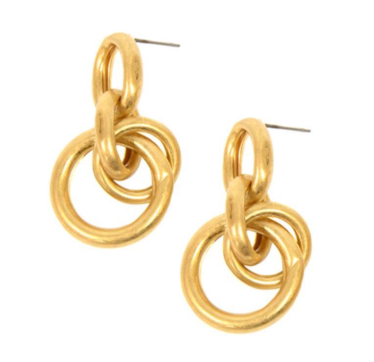 EARRINGS: CLUSTER OF RINGS (GOLD TONE), ON POST