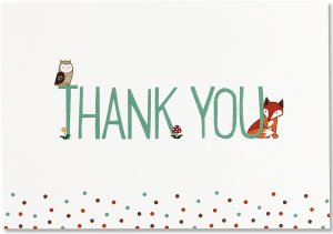 BOXED THANK YOU CARDS WOODLAND FRIENDS