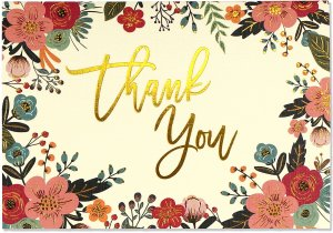 BOXED THANK YOU CARDS FLORAL FRAME