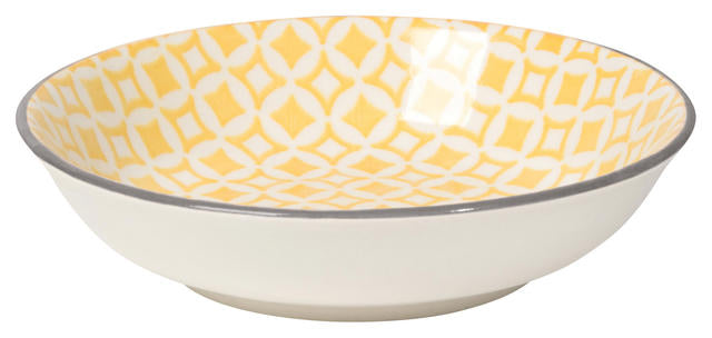 BOWL STAMPED DIAMOND YELLOW 3.75IN