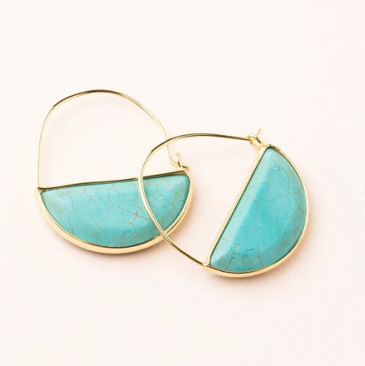 EARRINGS HOOP STONE PRISM TURQUOISE & GOLD